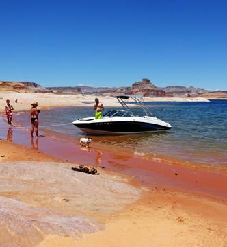 Boat on shore at Lake Powell