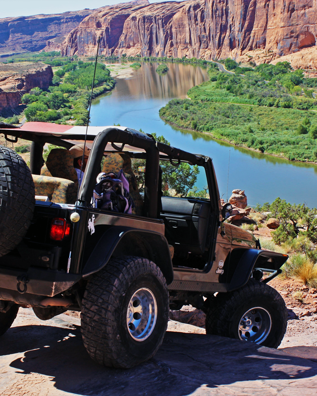 Jeep downhill in Moab