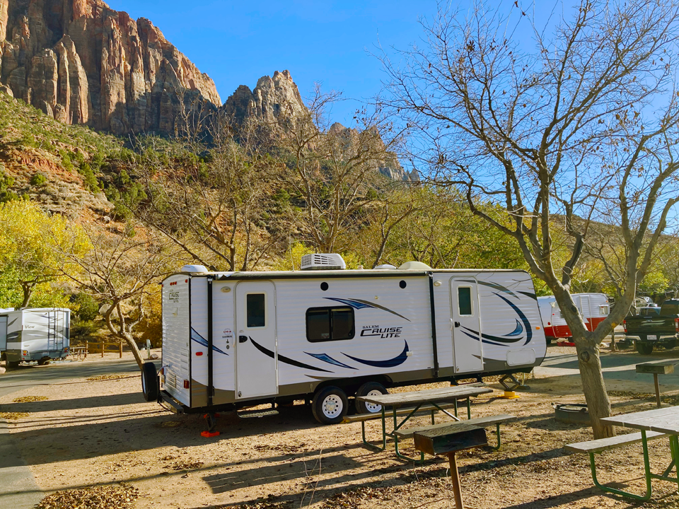Camping Trailer in Zion Canyon Campground