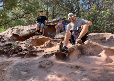 Kolob Canyon hike rest on rock