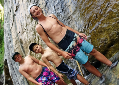 Narrows Hike Zion boys in river