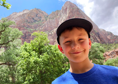 Narrows hike in Zion kid smiling