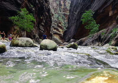Narrows hike Zion flowing river